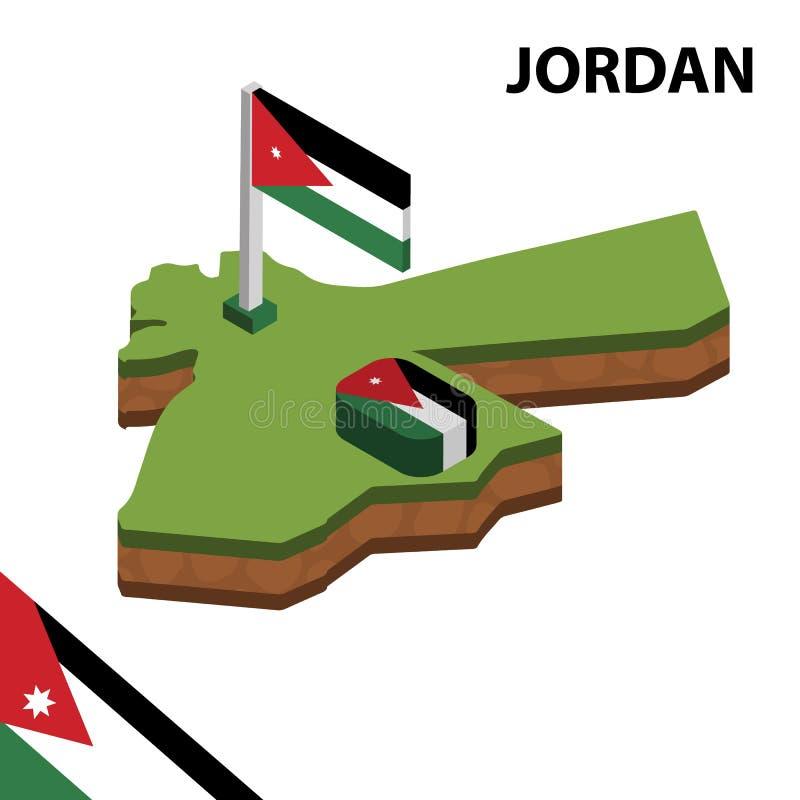 信息约旦的图表等量地图和旗子 r 库存例证