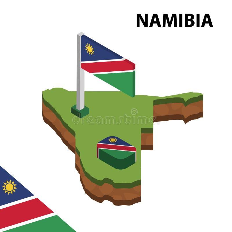 信息纳米比亚的图表等量地图和旗子 r 皇族释放例证