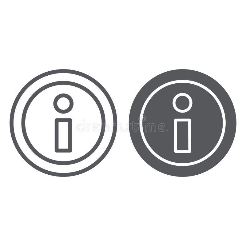 信息线和纵的沟纹象,帮助并且通知,信息标志,向量图形,在白色背景的一个线性样式 库存例证