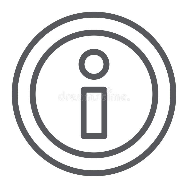 信息线象,帮助并且通知,信息标志,向量图形,在白色背景的一个线性样式 库存例证