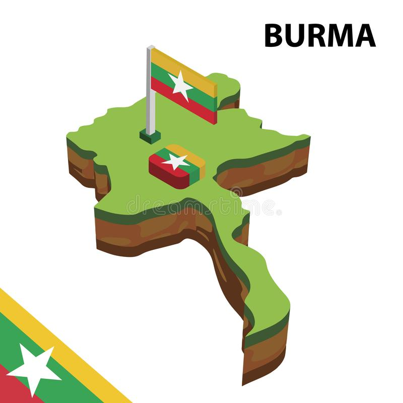 信息缅甸的图表等量地图和旗子 r 向量例证