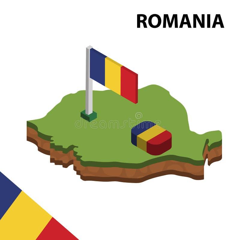 信息罗马尼亚的图表等量地图和旗子 r 向量例证
