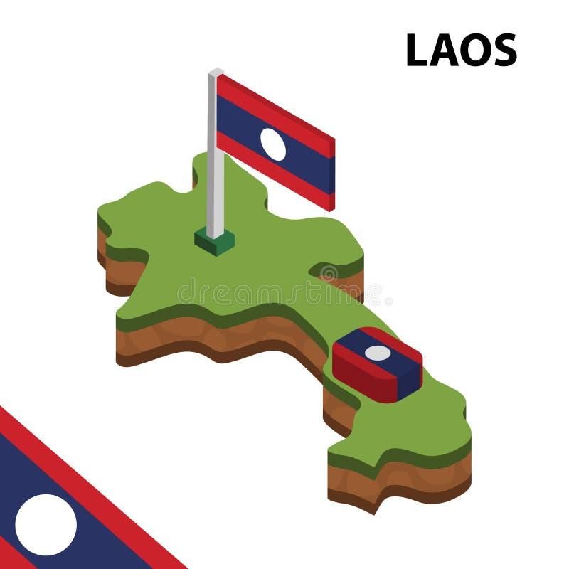 信息老挝的图表等量地图和旗子 r 向量例证