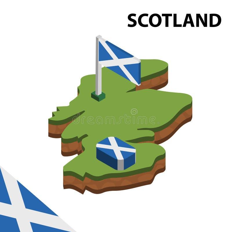 信息苏格兰的图表等量地图和旗子 r 皇族释放例证