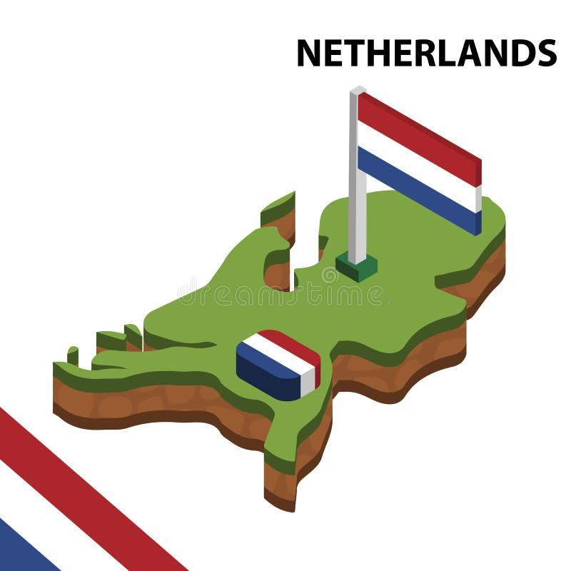 信息荷兰的图表等量地图和旗子 r 库存例证
