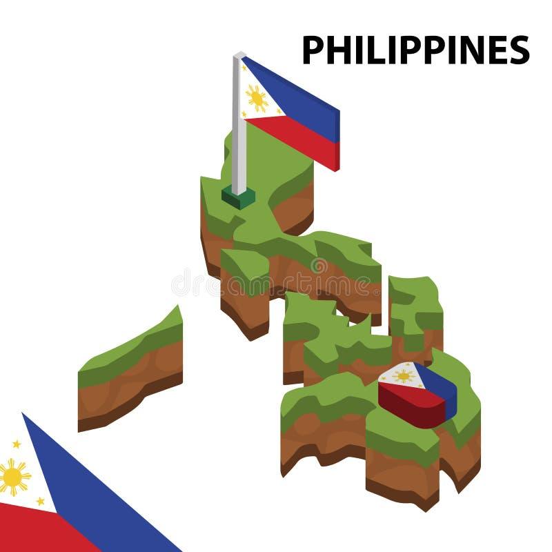 信息菲律宾图表等量地图和旗子  r 向量例证