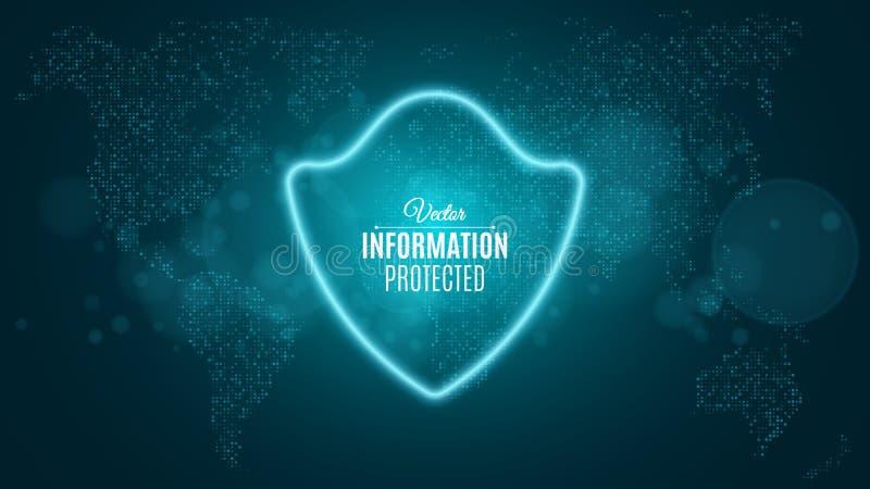 信息被保护 蓝色发光的霓虹盾 霓虹横幅 系统被保护 科学幻想小说和高科技 例证映射旧世界 向量 向量例证