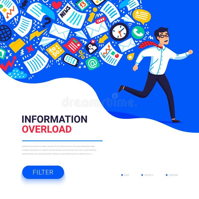 信息超载概念 跑远离信息小河的年轻人追求他 被淹没的人的概念 库存例证