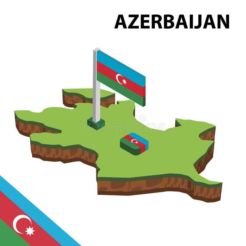 信息阿塞拜疆的图表等量地图和旗子 r 库存例证
