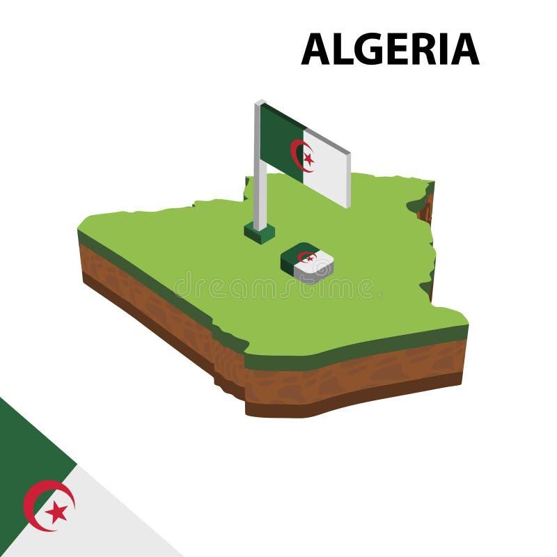 信息阿尔及利亚的图表等量地图和旗子 r 库存例证