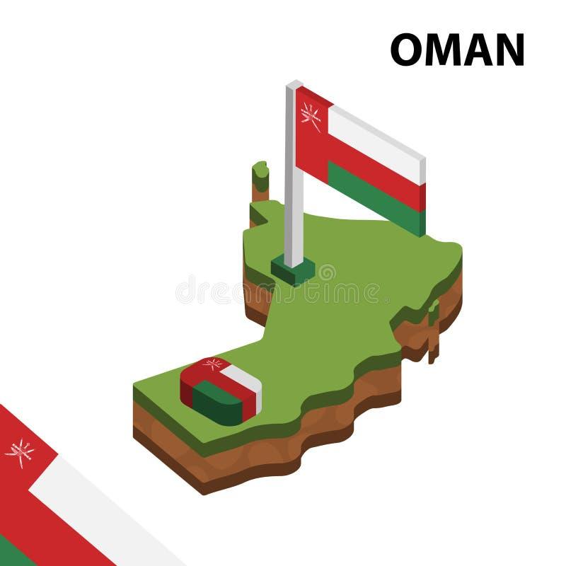 信息阿曼的图表等量地图和旗子 r 向量例证
