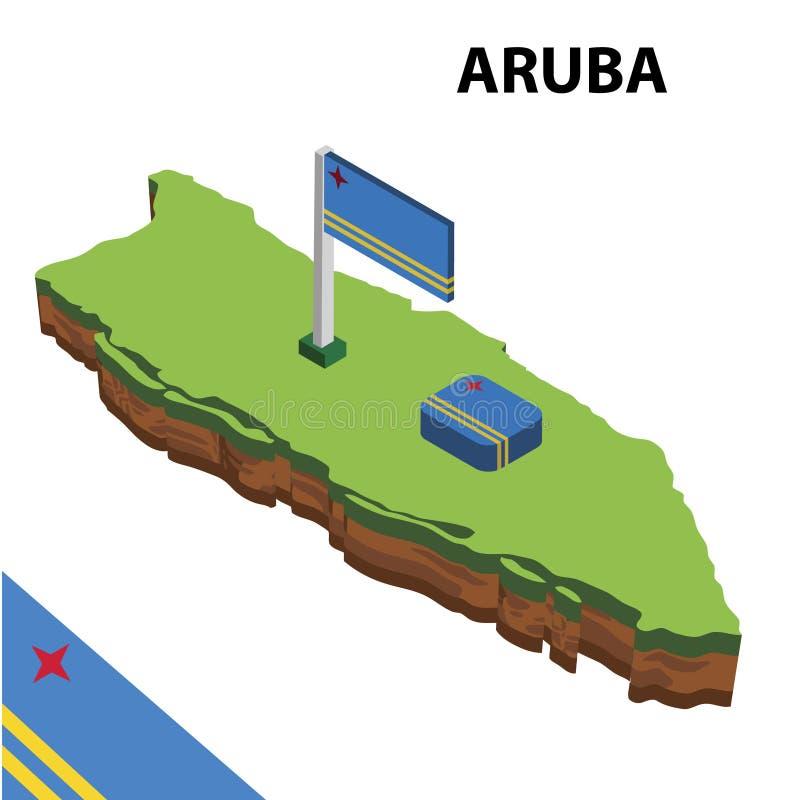 信息阿鲁巴图表等量地图和旗子  r 皇族释放例证