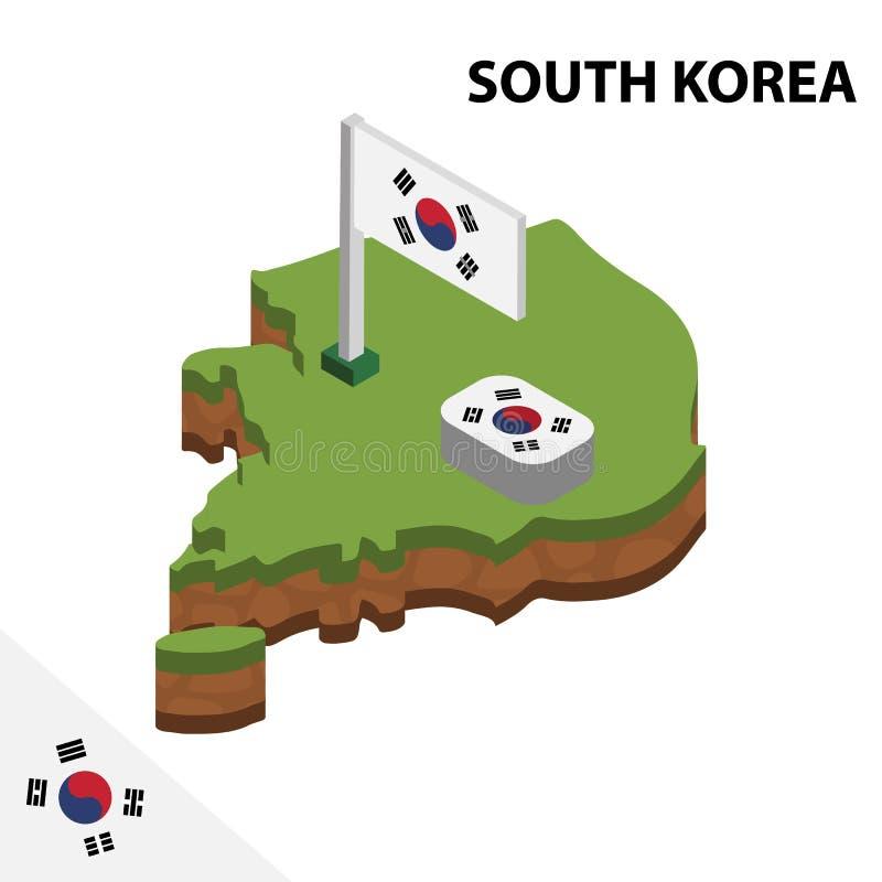 信息韩国的图表等量地图和旗子 r 库存例证