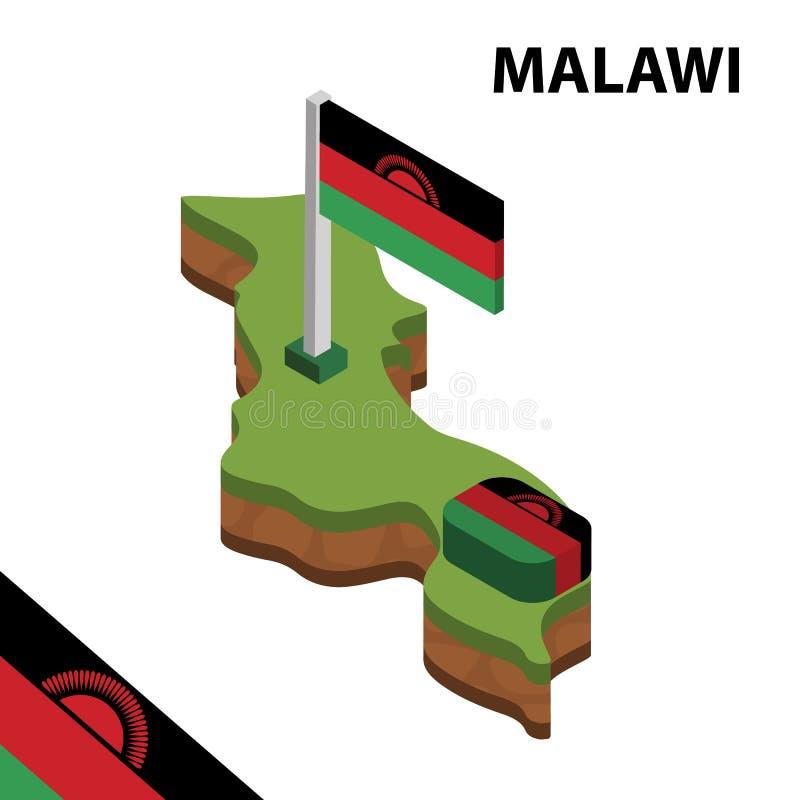 信息马拉维的图表等量地图和旗子 r 向量例证