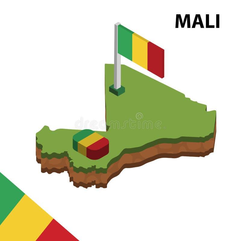 信息马里的图表等量地图和旗子 r 皇族释放例证