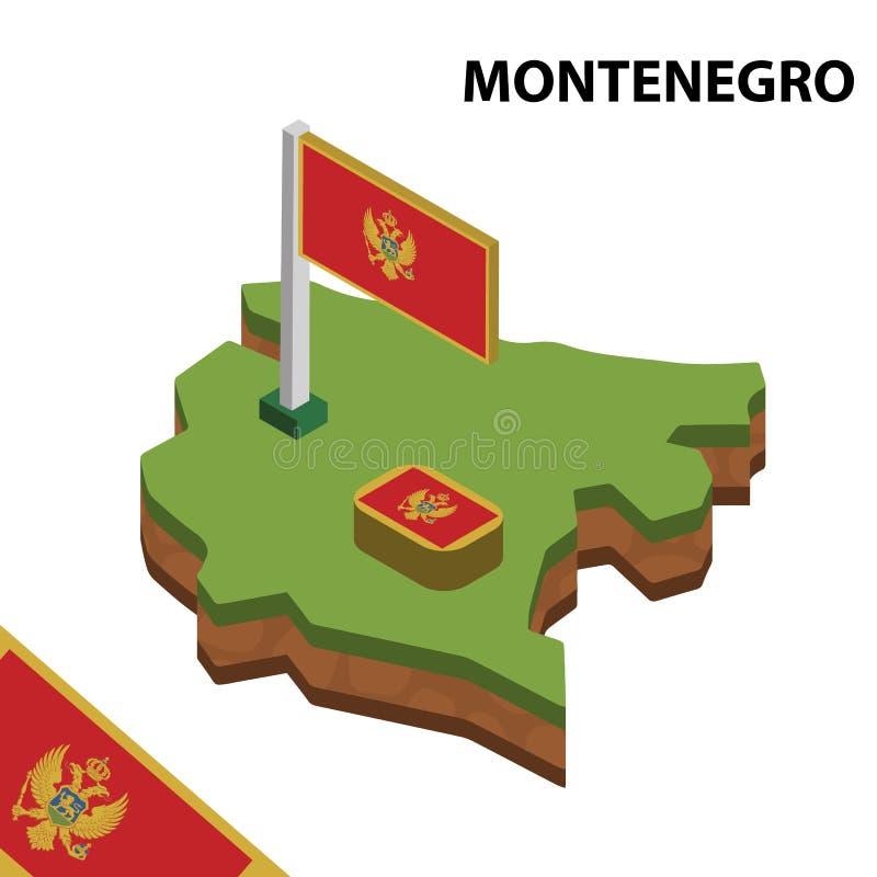 信息黑山的图表等量地图和旗子 r 皇族释放例证
