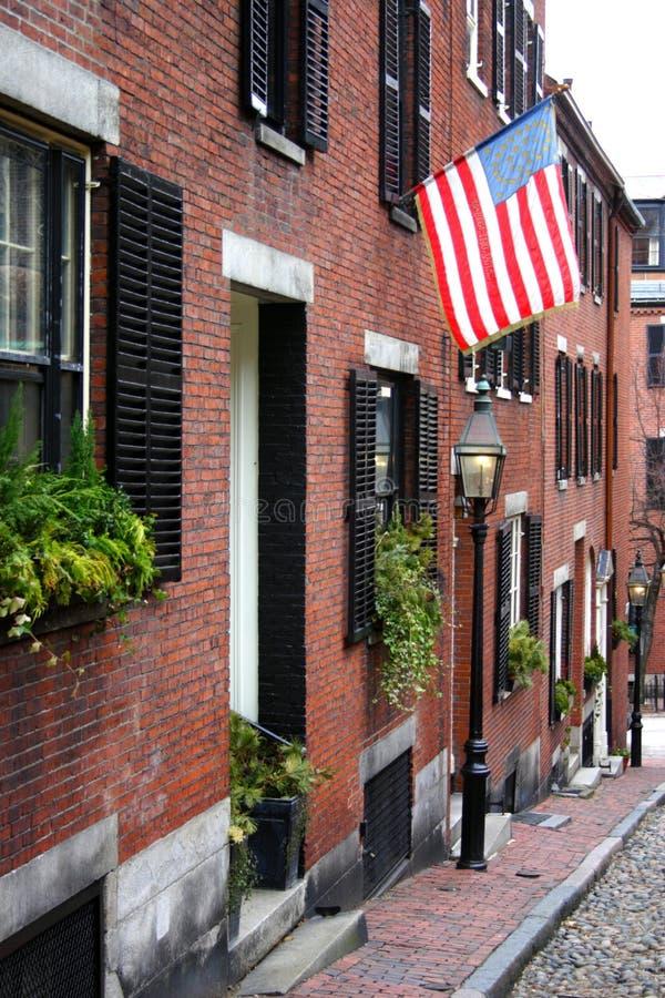信标岗是联邦式rowhouses一个富裕的邻里,与某些最高的特性值在美国 免版税库存照片