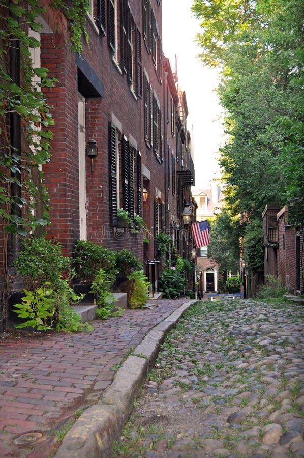 信标岗,有历史的波士顿街道 库存照片