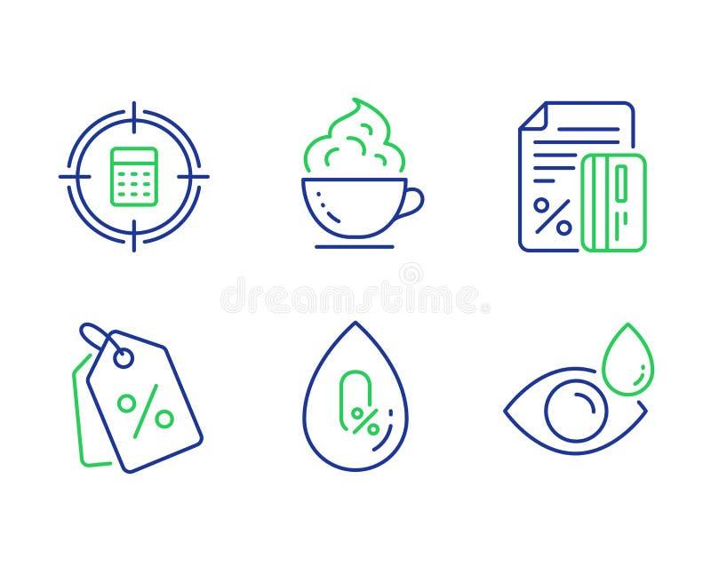 信用卡、咖啡杯和计算器目标象集合 折扣标记、没有酒精和眼药水标志 ?? 库存例证