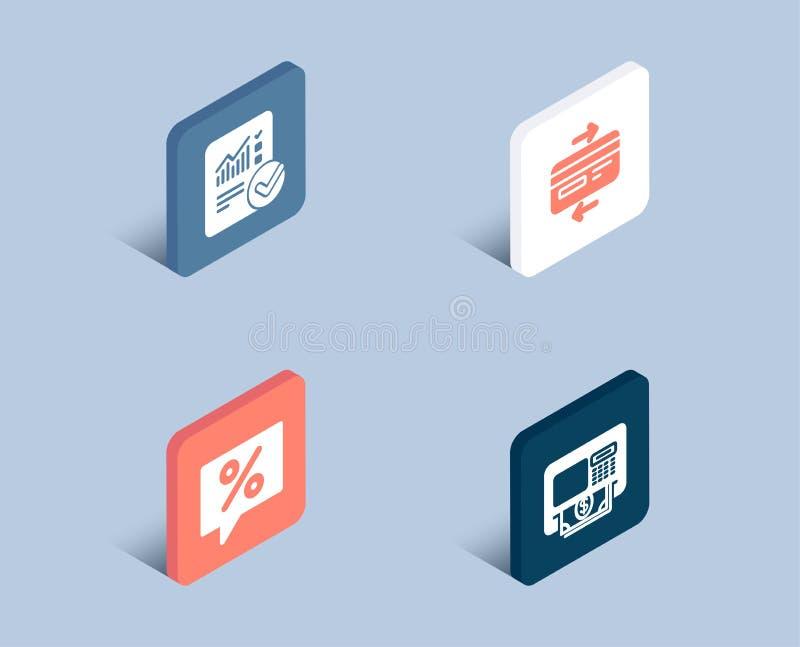 信用卡、被检查的演算和折扣消息象 ATM标志 向量例证