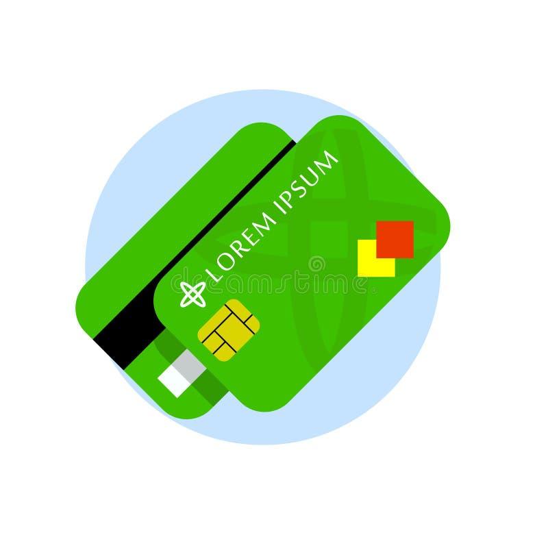 信用卡传染媒介平的象 信用卡前面和后面 向量例证