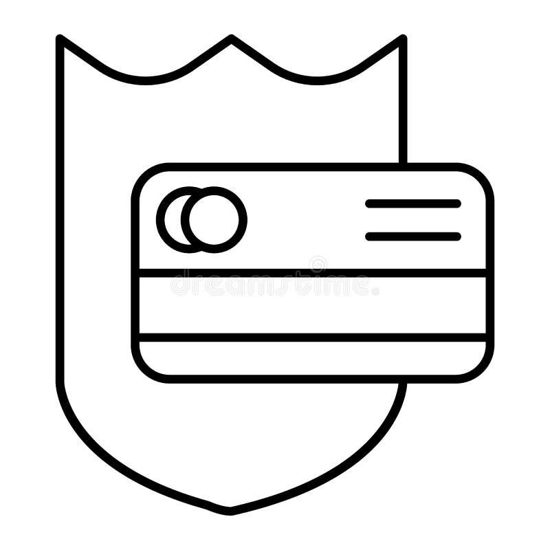 信用卡保护稀薄的线象 信用卡和盾在白色隔绝的传染媒介例证 安全的付款 库存例证