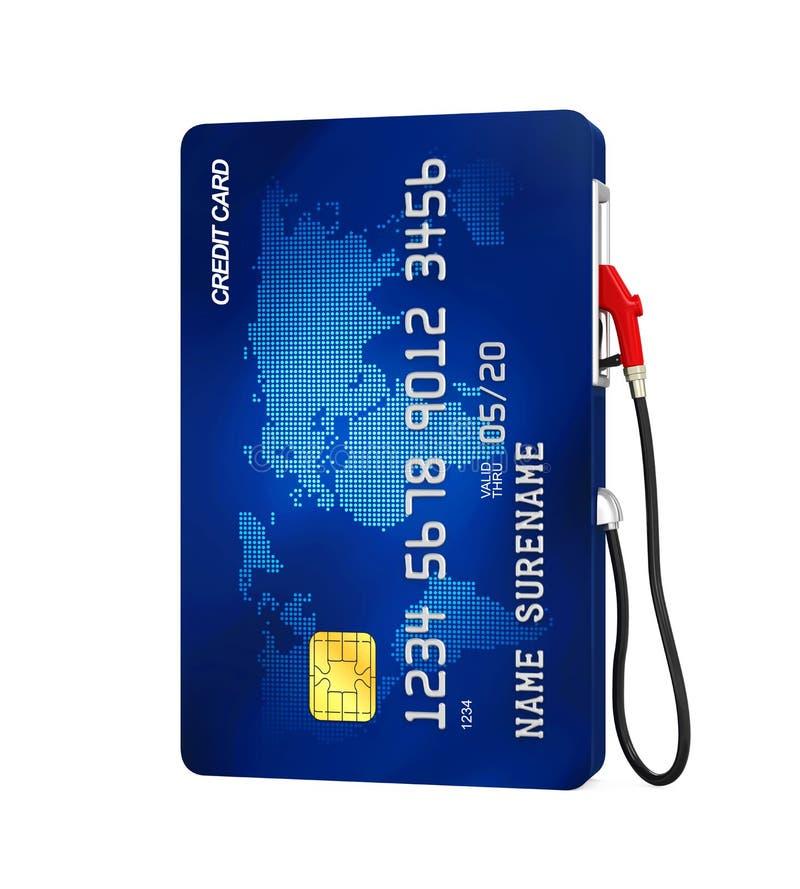 信用卡和气泵喷管 库存例证