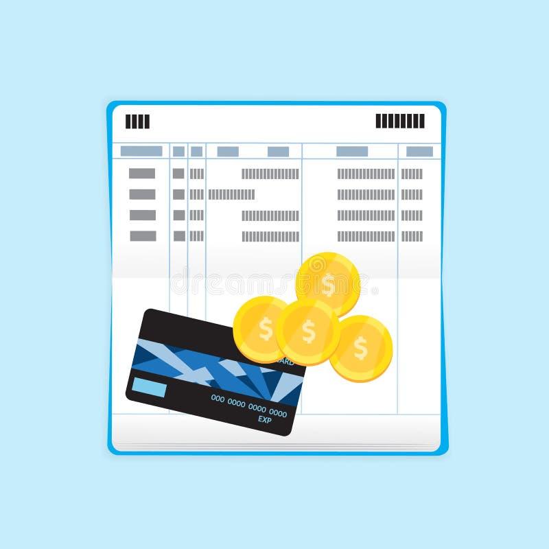 信用卡和硬币在银行存折 库存例证