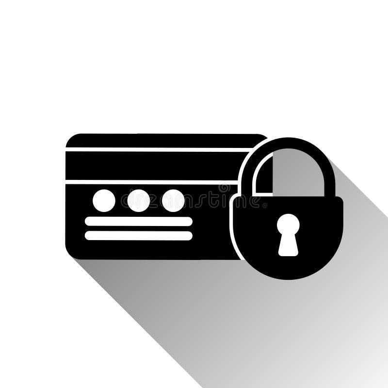 信用卡和锁象与阴影在白色背景 向量例证
