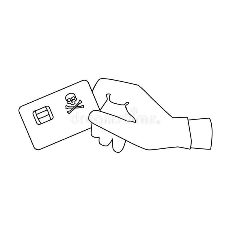 信用卡在白色背景在概述样式的欺骗象隔绝的 黑客和乱砍标志储蓄传染媒介 库存例证