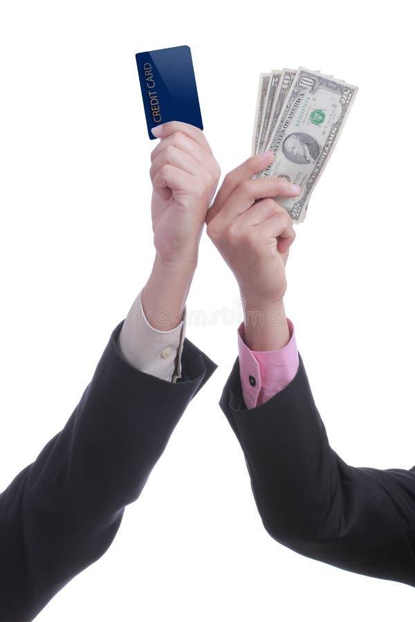 信用卡或现金支付概念有白色背景 图库摄影