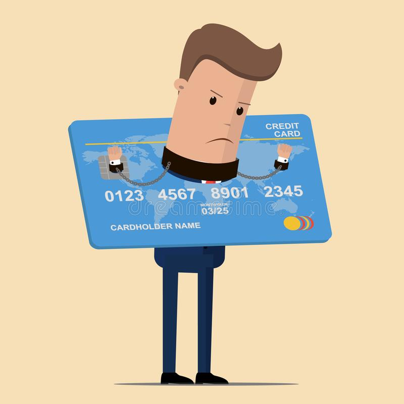 信用卡的债务被监禁的商人 企业和财务概念 也corel凹道例证向量 库存例证