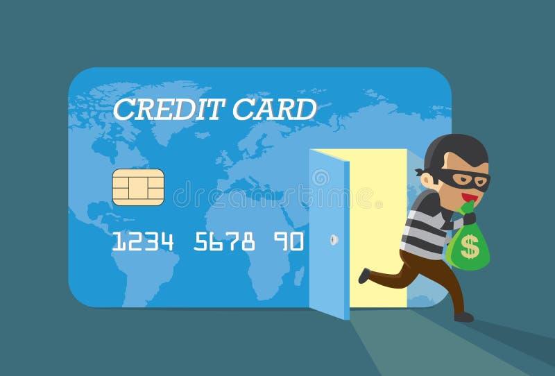 从信用卡的夜贼金钱 向量例证