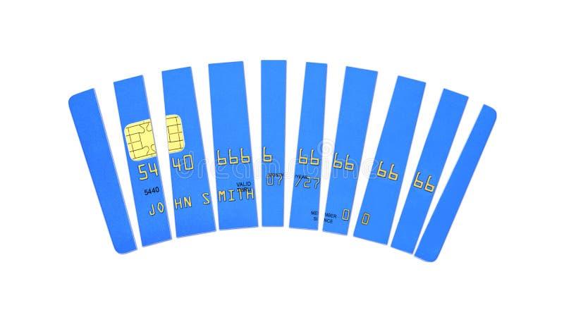 信用卡被切开成片断,在白色背景隔绝的蓝色塑料付款卡片,正面图,3D回报 免版税库存照片