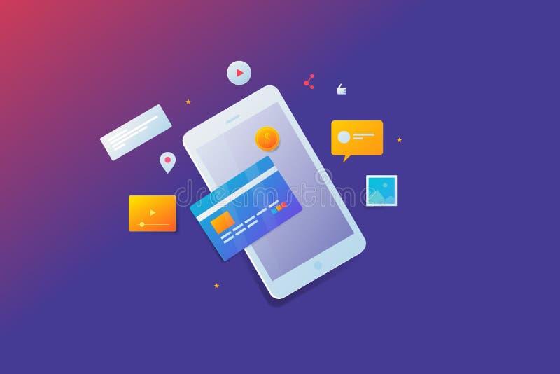 信用卡,流动付款,网络购物,数字销售的概念,社会媒介,通信,与象的网络 向量例证