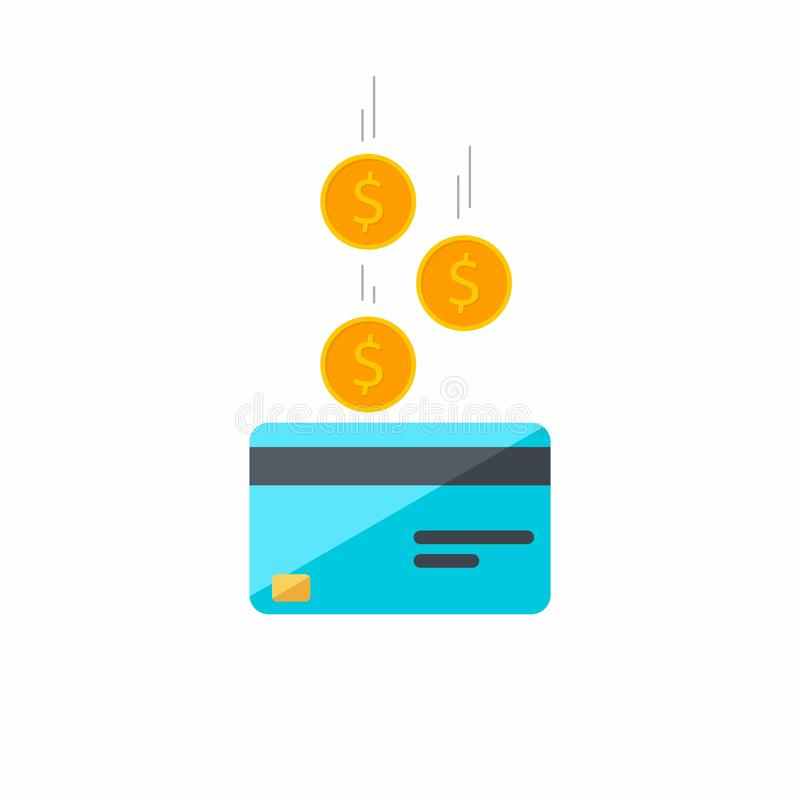 信用卡,等量,硬币,财务,万一银行卡,事务,传染媒介,平的象,落的硬币,落的金钱,飞行 皇族释放例证