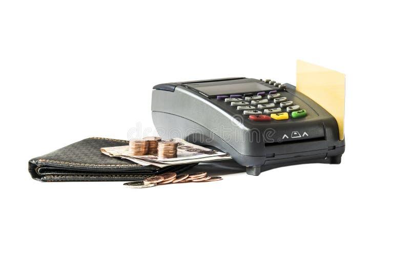 信用卡读者和金钱 图库摄影