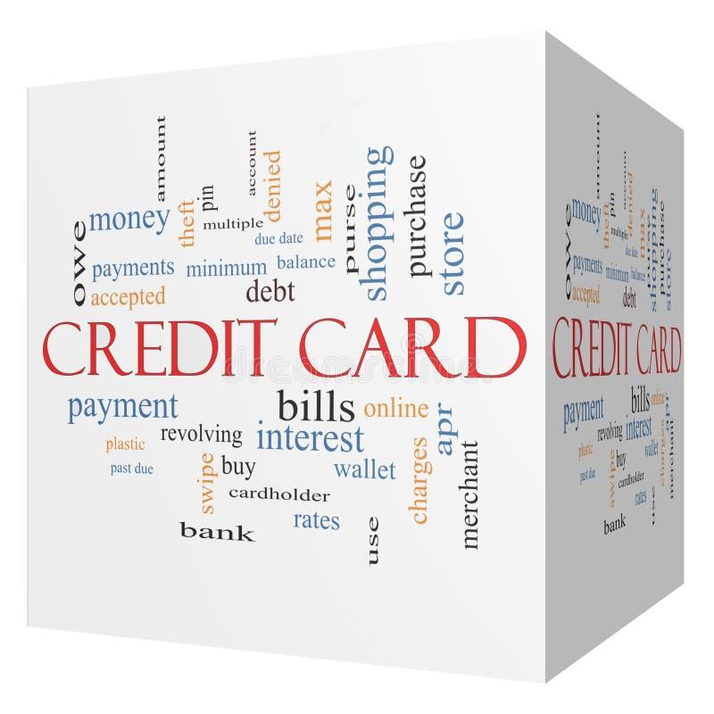 信用卡3D立方体词云彩概念 库存例证