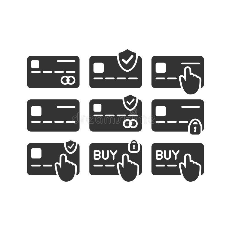 信用和借记卡付款与盾、挂锁和尖手指手传染媒介象集合 向量例证