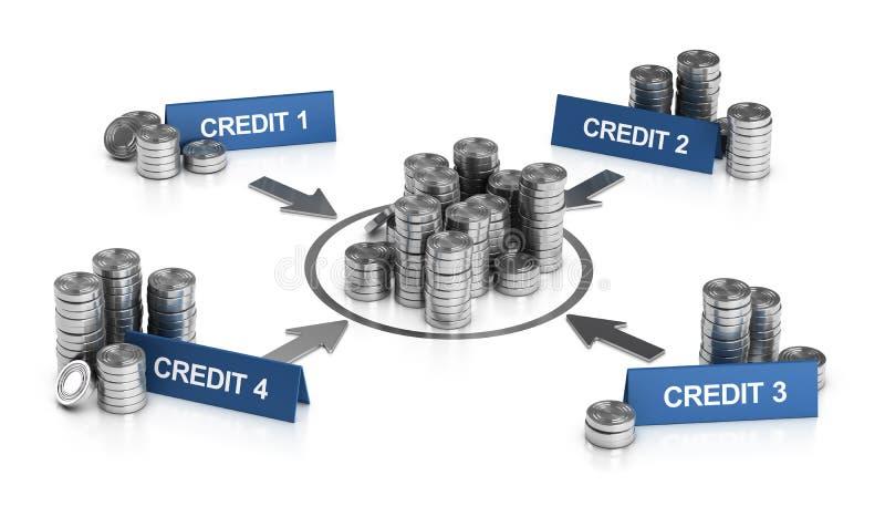 信用或贷款实变,债务减免 向量例证