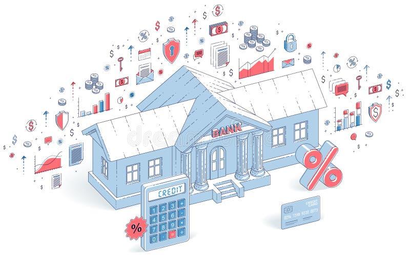 信用概念、在白色背景与计算器和百分之标志隔绝的银行大楼,银行业务题材 3d传染媒介事务 皇族释放例证
