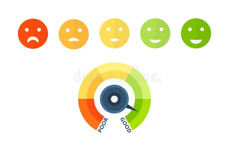 信用评分五颜六色的偿付能力显示,认同和信誉 皇族释放例证