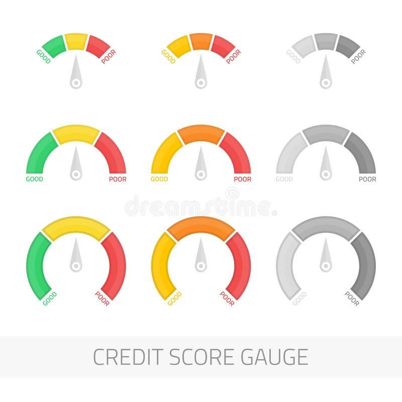 信用评分测量仪传染媒介集合 向量例证