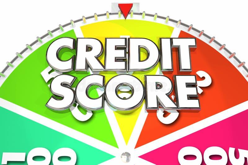 信用评分规定值数字胜利最佳的手纺车3d Illustrati 向量例证