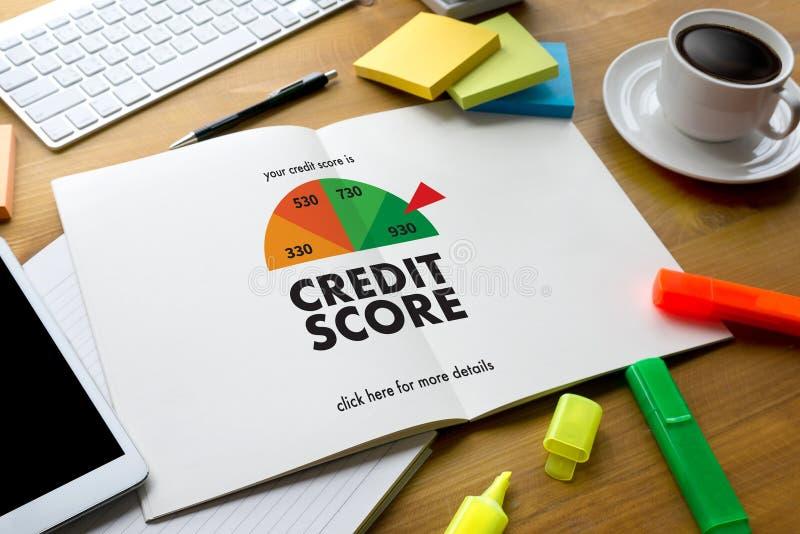 信用评分(在网上检查信用评分和Finan的商人 图库摄影
