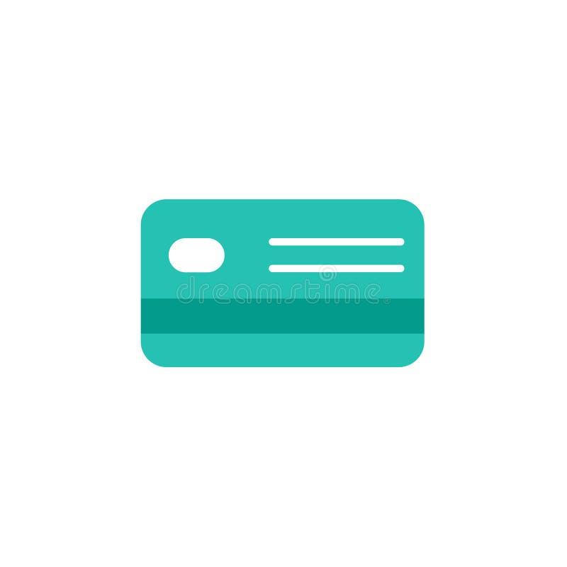 信用转账卡 银行帐户标志 在白色隔绝的传染媒介平的象 绿松石颜色 皇族释放例证