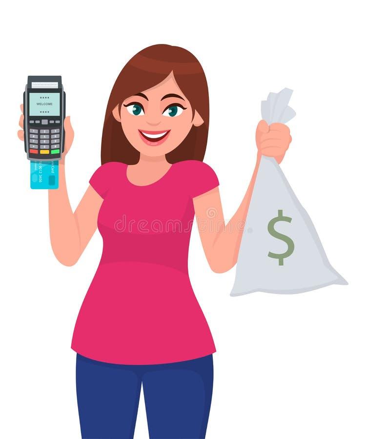 信用,借方,自动取款机卡的年轻女人显示/举行猛击机器,POS付款终端和现金,金钱,货币笔记请求 向量例证
