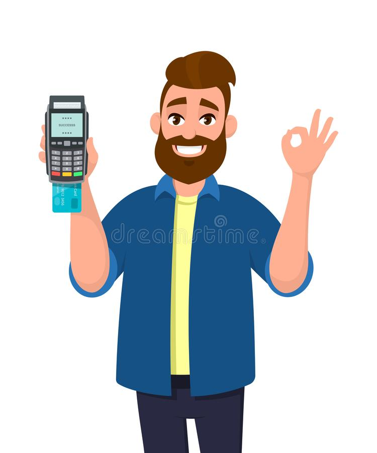 信用/借记卡的人显示/拿着插入了POS终端付款卡片重击机器和打手势okay或者OK标志 库存例证