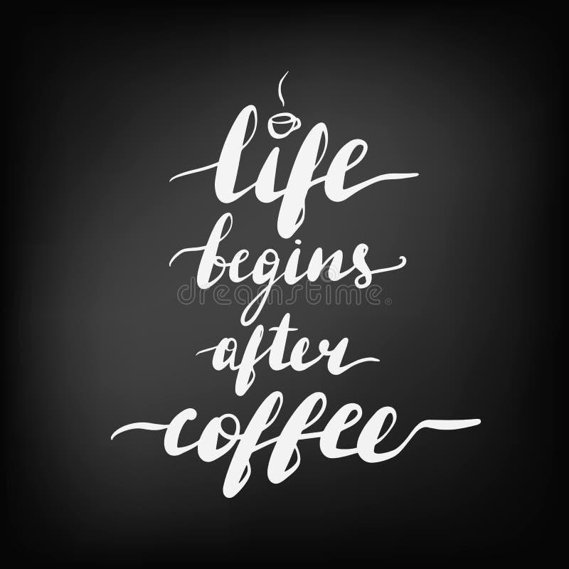 信题字生活在咖啡以后开始 皇族释放例证