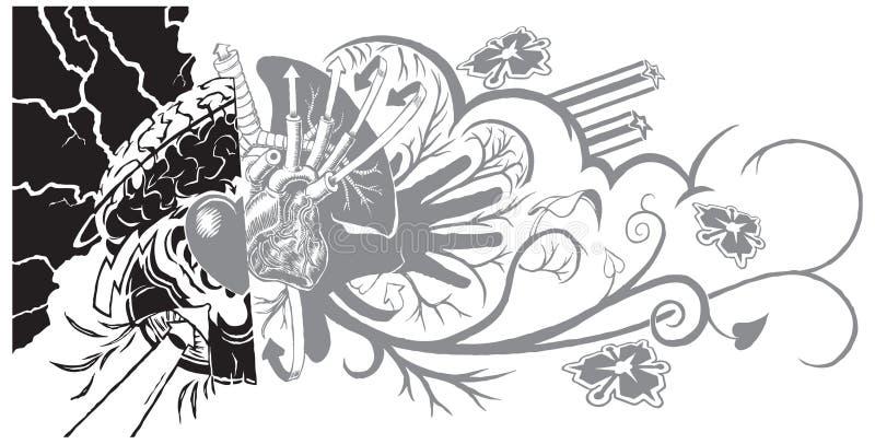 信仰和生活街道画纹身花刺 向量例证